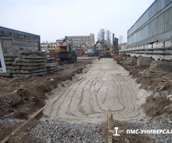 Строительство железнодорожного пути (подготовка основания) ЗАО «Нева Металл», 2009