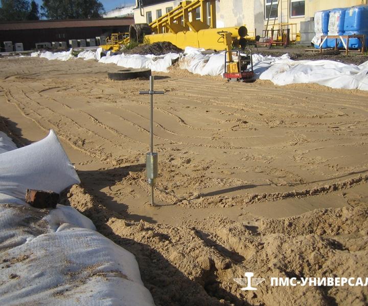 Строительство кранового пути (земляное полотно с требуемым коэффициентом уплотнения) ООО «ГРОМ», 2013 г.