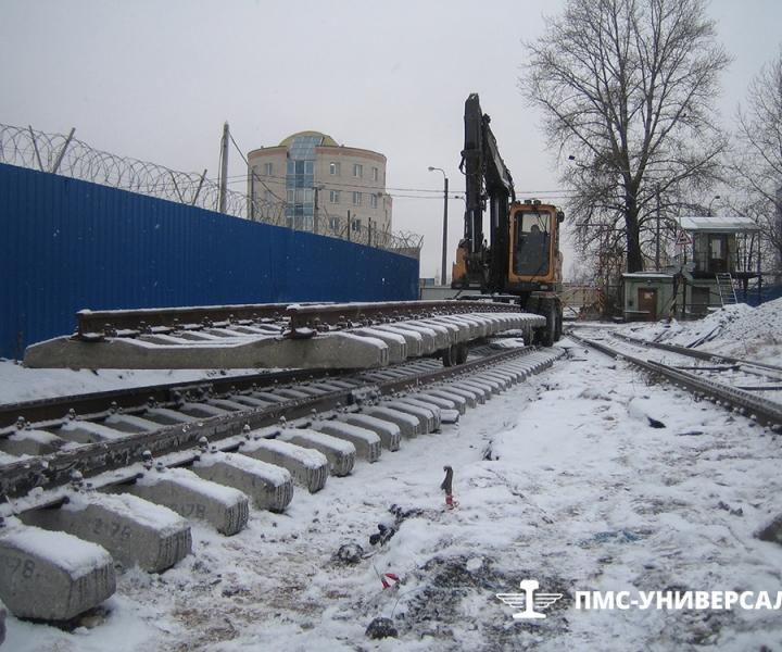 Строительство железнодорожного пути (Транспортировка звена под укладку) ОАО «ТГК-1» ТЭЦ-14, 2015г.
