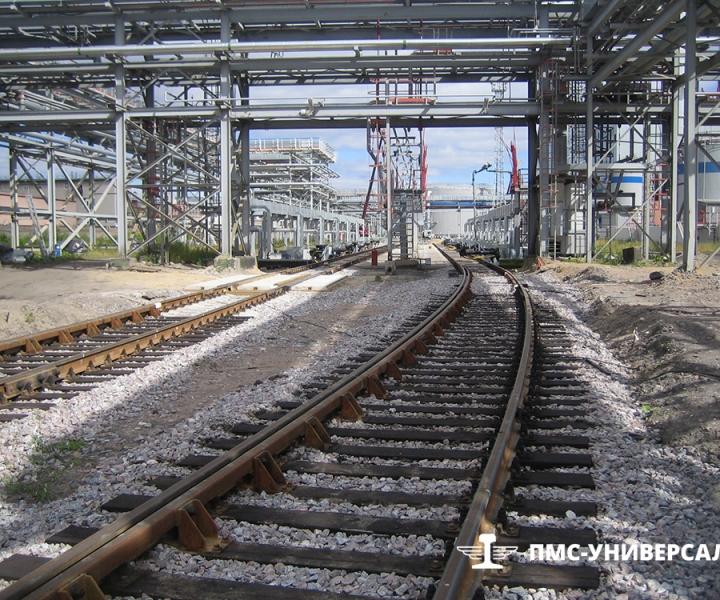Строительство железнодорожного пути (Участок пути с контррельсами) ОАО «ТГК-1» ТЭЦ-14, 2015 г.